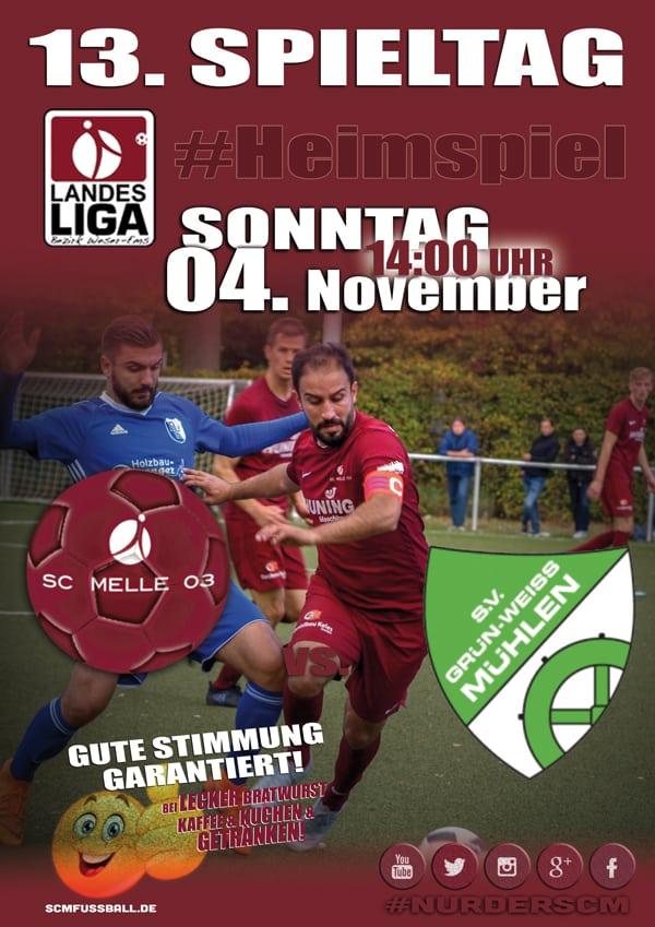 Spieltag 13 Fußball Landesliga Weser-Ems 18/19 SC MELLE 03 gegen SV GW Mühlen