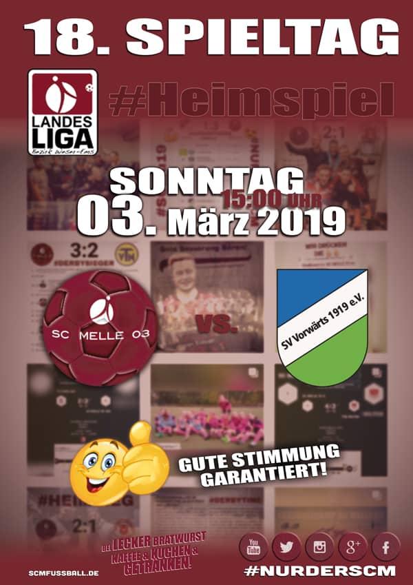 Spieltag 18 Fußball Landesliga Weser-Ems 18/19 SC MELLE 03 gegen SV Vorwärts Nordhorn