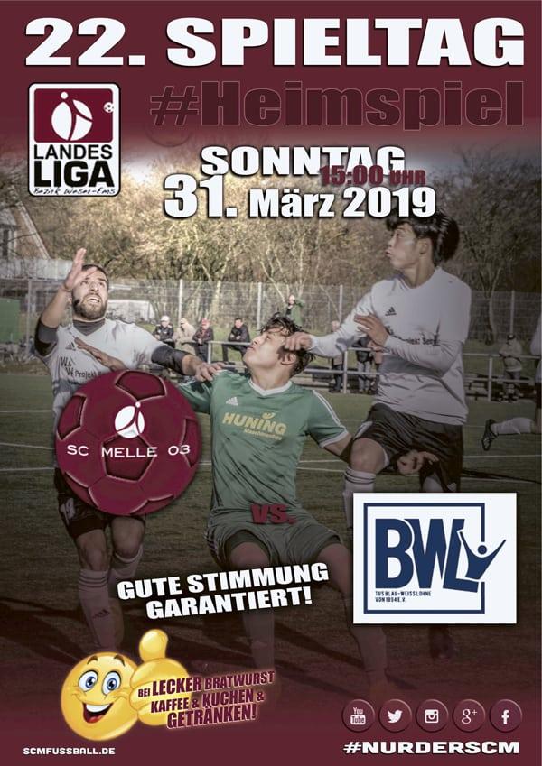 Spieltag 22 Fußball Landesliga Weser-Ems 18/19 SC MELLE 03 gegen BW Lohne am 31. März 2019 in der MELOS-Kunstrasen-Arena in Melle.
