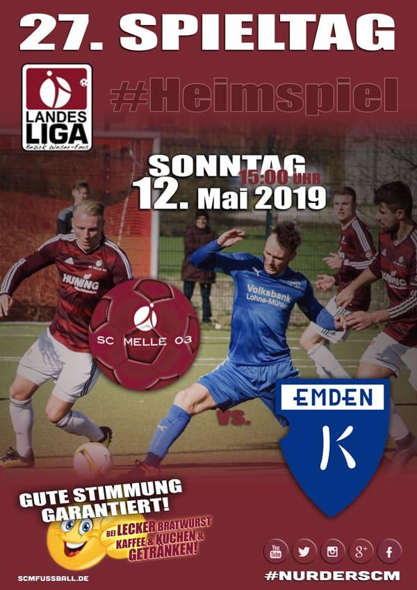 Spieltag 27 Fußball Landesliga Weser-Ems 18/19 SC MELLE 03 gegen BSV Kickers Emden