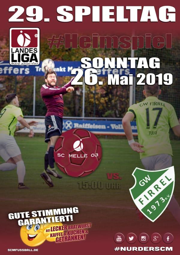 Spieltag 29 Fußball Landesliga Weser Ems 18 19 SC MELLE 03 gegen GW Firrel