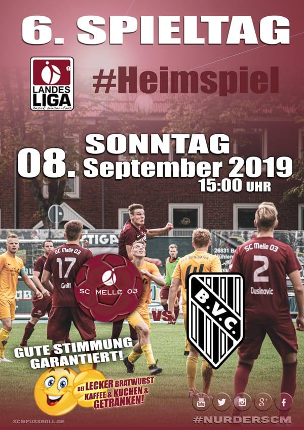 Spieltag 6 Fußball Landesliga Weser-Ems 19/20 SC MELLE 03 gegen BV Cloppenburg am 08. September 2019 in Melle.
