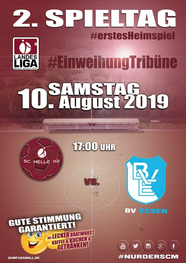 Spieltag 2 Fußball Landesliga Weser-Ems 19/20 SC MELLE 03 gegen BV Essen am 10. August 2019 in Melle.