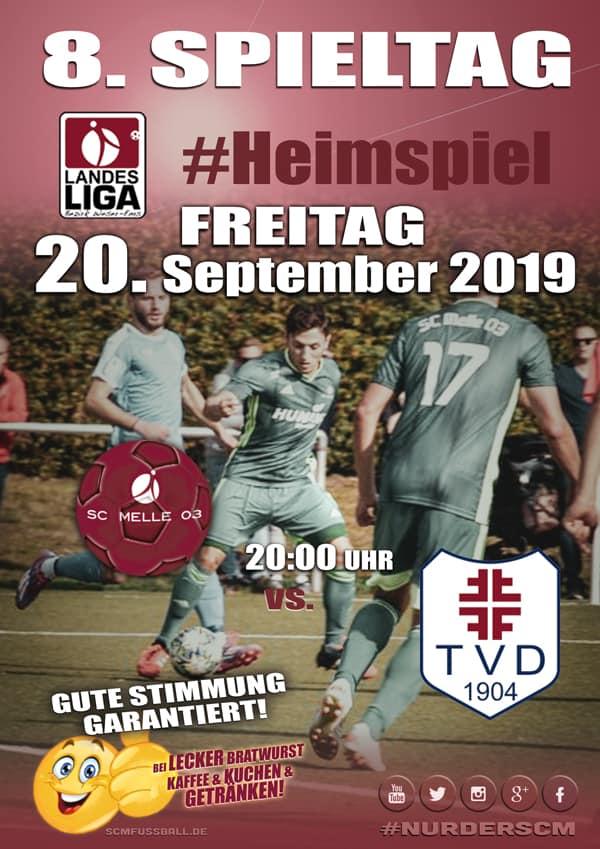 Spieltag 8 Fußball Landesliga Weser-Ems 19/20 SC MELLE 03 gegen TV Dinklage am 20. September 2019 in Melle.