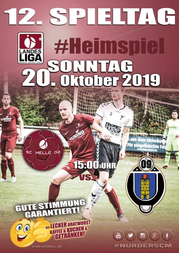 Spieltag 12 Fußball Landesliga Weser-Ems 19/20 SC MELLE 03 gegen FC Schüttorf am 20. Oktober 2019 in Melle.