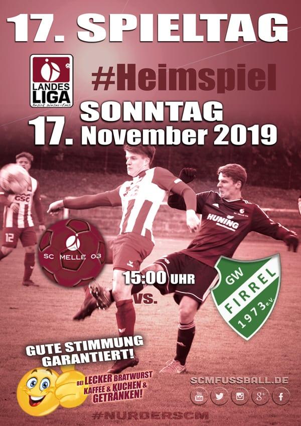 Spieltag 17 Fußball Landesliga Weser-Ems 19/20 SC MELLE 03 gegen GW Firrel am 17. November 2019 in Melle.