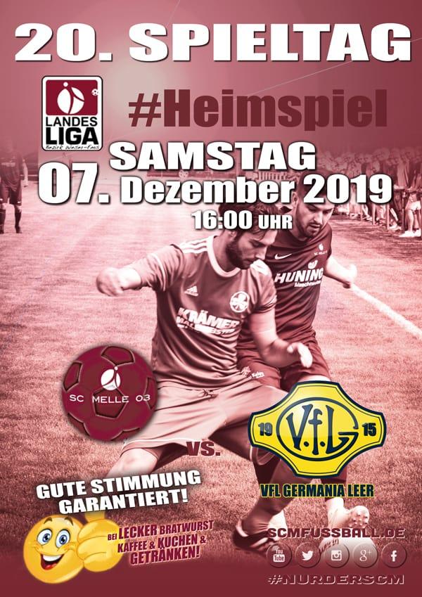 Spieltag 20 Fußball Landesliga Weser-Ems 19/20 SC MELLE 03 gegen VfL Germania Leer am 07.12.19 in Melle.