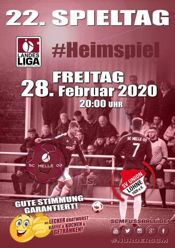 Spieltag 22 Fußball Landesliga Weser-Ems 19/20 SC MELLE 03 gegen SV Union Lohne am 01.03.20 in Melle.