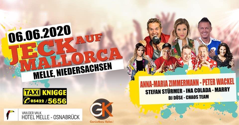 Die Event & More Rheinland UG haftungsbeschränkt bringt Euch mit JECK AUF Mallorca die Stars aus Mallorca direkt nach Melle. Am 06.06.2020 fällt der Startschuss für die Große Jeck auf Mallorca Party!