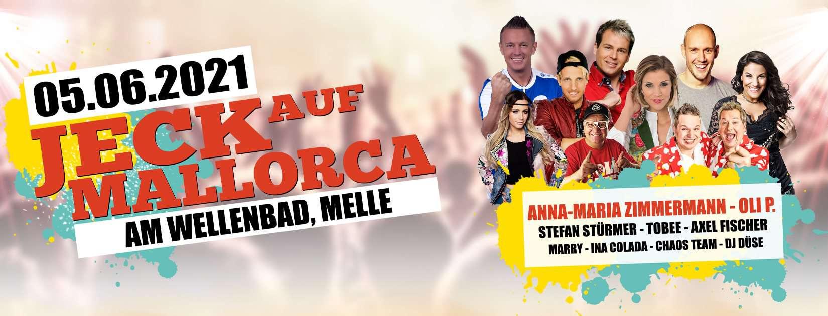 Die Event & More Rheinland UG haftungsbeschränkt bringt Euch mit JECK AUF Mallorca die Stars aus Mallorca direkt nach Melle. Am 05.06.2021 fällt der Startschuss für die Große Jeck auf Mallorca Party!